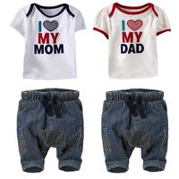 2014children's clothing  summer male female child love mom short-sleeve denim set 5set/lot free shipping