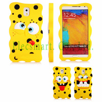 Galaxy Note 3 3D Cute Lovely Spongebob Squarepants Silicone Funny Face Snap-On Case Cover For Samsung N9000