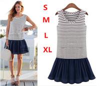 2014 new fashion women  dress striped dress Lady O-neck sleeveless patchwork mini dress casual vestidos plus size Free shipping