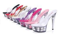 Sweet princess high heels high 14/15 cm heel waterproof transparent glass slipper cool slippers wedding shoe flower 7COLORS