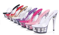 Sweet princess high heels high 14/15 cm heel waterproof transparent glass slipper cool slippers wedding shoe flower 7COLORS