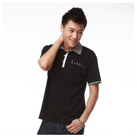 New 2014 2 color brand turn-down collar personalized polo shirt For men's short-sleeve tee M-21  free shipping