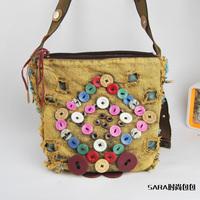 2014 water wash denim  handmade button decoration bucket  messenger bag female
