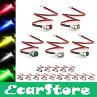20pcs 5 Colors Motorcycle LED Indicator Light Lamp Pilot Dash Directional Car Vehicle Truck Boat