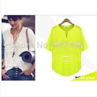2014 fashion summer short sleeve v-neck 100% cotton modal pocket women t shirt casual basic tee free shipping best selling