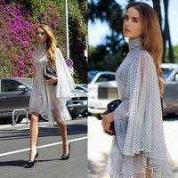 Sweet Wave Point Sexy And Elegant Falbala White Chiffon Dress Free Shipping 2014 Spring New M,L,XL,XXL,XXXL,XXXXL,XXXXXL13929
