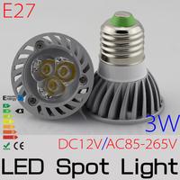 10PCS 3*1W LED Epistar High Power Spotlight bulb E27 Nature White/Warm White DC12V/AC85-265V  3W Spotlighting lamp FREESHIPPING