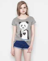 2014 new fashion Europe women casual cute Mr Panda printed summer cotton short sleeve T-shirt #E189