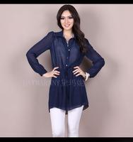 Long Design Shirt Twinset 2014 Spring Summer Women's Plus Size 4XL Loose Long-sleeve Shirt Blouse Dress Navy Blue Black Grey