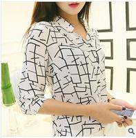2015 Real Freeshipping Women Shirt Long Striped Casual Rayon V-neck New Spring. Seven Point Sleeve Stripes Shirt Chiffon Blouse