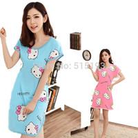 2014 Cute cartoon Hello kitty cotton blend homewear for women sleepwear Nightdress Nightgown Short-Sleeved Pajama Home Clothes