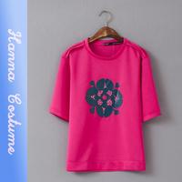 New summer 2014 loose print hot drilling t shirt fashion women chiffon t-shirt top half sleeve cute t shirts woman clothing