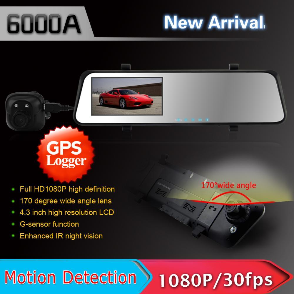 BEST New 4.3 LCD 6000A GPS Mirror Car DVR HD 1920x1080p Rear view camera 720P H.264 Dual Cameras wtih G-sensor(China (Mainland))