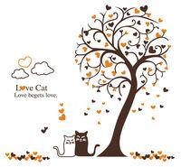 Vinyl Wall Decals Kids Room Tree Decor Home Decor Cat Animal Mural  PP9017