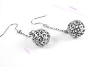 Wholesale 2014 Hollywood Star Western Brand 316L Stainless Steel Hollow Sphere Earrings Trendy Women Earring L:60MM W:20MM