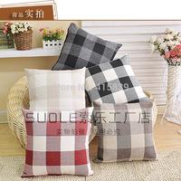 fedex 300pcs 45*45cm linen cotton plaid print cushion cover pillow cover for car,bed,sofa