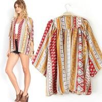 New Fashion Ladies' elegant vintage Paisley pattern print Kimono jacket cardigan coat loose outerwear casual brand design top