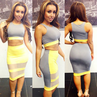 2014 Summer NEW Style Sexy MULTI COLOR 2Pcs Set Bandage Dresses Celebrity Bodycon Dress Party Dresses S,M,L Free Shipping