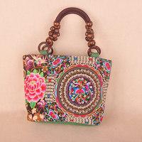 2014 NEW Canvas FashionCausal Ethnic Double Embroidery Handbag Women's Mini Shoulder Bag Free Shipping