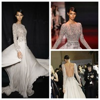 ELI002 2014 Sexy Fashion High Neck Embroidered Bodice Three Quarter Backless Chiffon Elie Saab Dresses For Sale