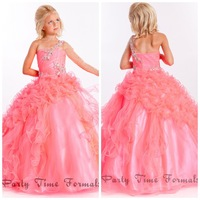 2014 Hot Sale One Shoulder Beaded Ruffles Girls Pageant Dresses for Wedding Organza Ball Gown Flower Girls Dress Formal  JY032