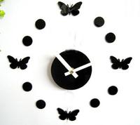 5sets/lot free shipping 3D butterfly dot wall clock for home wall decor DIY crystal mirror surface wall clocks wall art clock