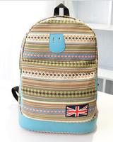2014 new printing backpack for girls high quality canvas backpack designer shoulder bag casual style black blue pink 3 colors