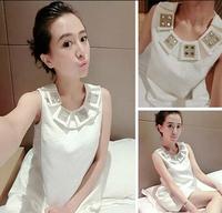 High Quality 2014 New Women Diamond O Neck Mini Dress Pattern Print Graceful Lady One-piece Sexy Party White OL Sleeveless Dress