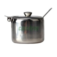 Mini Stainless Steel Pot Tea Sauces Coffee Jam Lid Salt Spoon Bowl Sugar I E#CH