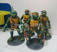 Free shipping 4pcs/set Classics anime Teenage mutant ninja turtles party supplies action figure+pedestal toys 4.7inch 2 set/lot