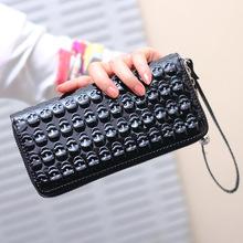 2014 Brand hot selling high quality lady pu leather skull wallets women's soft long purse cheap wholesale free shipping B8042(China (Mainland))