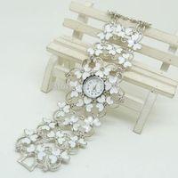 Best Selling Exquisite Rhinestone 3 Colors Flower Women's Decorative Casual Dress Party Dance Gift Bracelet Bangle Wrist Watch