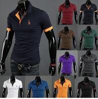 2014 Summer Hot polo brand men multicolor big yards Men Men's short sleeve polo shirt fawn horse POLO shirt 4xl 12 color