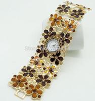 2014 Brand New Exquisite Diamonds Rhinestone Golden Women's Decorative Casual Dress Party Dance Gift Bracelet Bangle Wrist Watch