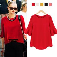 5 Color Free Shipping European Style Women Summer Tops New Fashion 2014 High Street Ruffle Half Sleeve Casual Chiffon Blouses