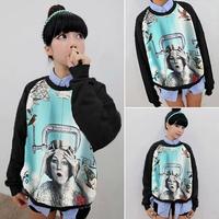 Free Shipping Korean Fashion Harajuku Style Women/Men Retro Printing 3D Sweatshirts Long SLeeve Hoodies Sweaters Pullover Tops