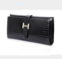2015 new women handbag wholesale crocodile pattern women leather bag wallet fashion patent leather female clutch free shipping