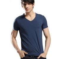 2014 New Arrival fashion V-neck t shirt Men Tops Tees slim fit Short sleeve t-shirt comfortable leisure mens Cotton t shirt Men