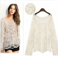 2014 fashion spring autumn sexy sheer long sleeve embroidery t shirt floral lace crochet tops free shipping best selling