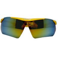 New Cycling Bike Polarized Sports Wrap Semi-Rimless  Sunglasses Goggle UV400 Yellow Frame Colorful Lens Cheap!!