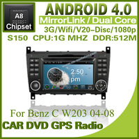Pure Android 4.0 Car pc for Benz C W203 with steering wheel DVD Radio GPS Bluetooth dvd TV USB ipod dual core Free shipping 1269