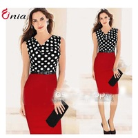 S-XXL New 2014 summer Polka Dot stitching heaps collar sleeveless long bodycon dress women casual party dress # 6632wiht belt