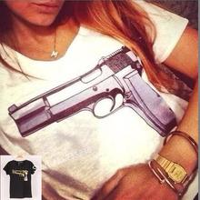 2 cores de Moda de Nova Marca T-shirt femininas com impresso CC & Gun t-shirts de manga curta Stretch algodão tees Modal encabeça S / M / L(China (Mainland))