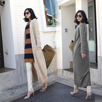 2014 women fashion Winter The new long paragraph Single-breasted Warm Street V-necks joker Sweater cardigan coat Good quality