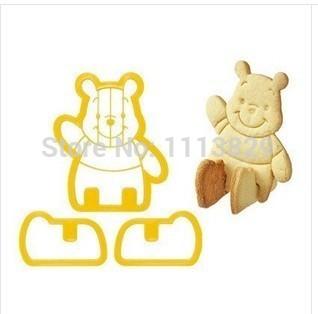 diy 2014 novo winnie the pooh três- tridimensionais de plástico cortador de biscoitos molde frete grátis(China (Mainland))