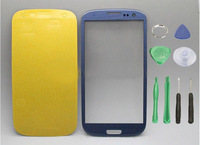 Replacement Blue skinfor samsung galaxy s3 Siii glass lcd touch screen digitizer front lens i9300 free tools +sticker