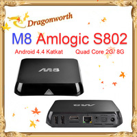 EM8 M8 Amlogic S802 Android TV Box Quad Core 2G/8G Mali450 GPU 4K HDMI XBMC 2.4G/5G Dual WiFi Smart Media Player Mini PC