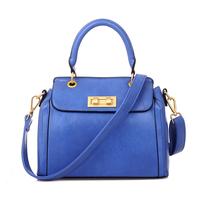 Soft quality PU glossy waterproof handbag for women metal lock plus zipper vertical vintage shoulder bags ladies Free Shipping