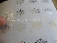 custom logo silver / gold / red / purple / blue stamp print on transparent clear pvc label metallic foil sticker printing