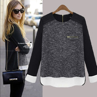 2014 fashion European Plus size women loose sweater autumn patch work shirts cotton t-shirt pullover sweater sweatershirt s-5xl